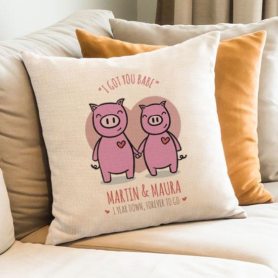 I Love Us Lumbar Pillow 2nd Wedding Anniversary Gift